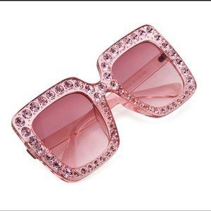 $CLEARANCE$ Pink Trendy Rhinestone Sunglasses